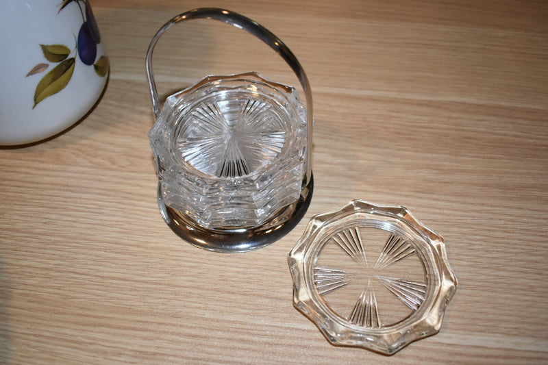 Crystal Glass Coasters - Mid Century - With Silver Plated Holder