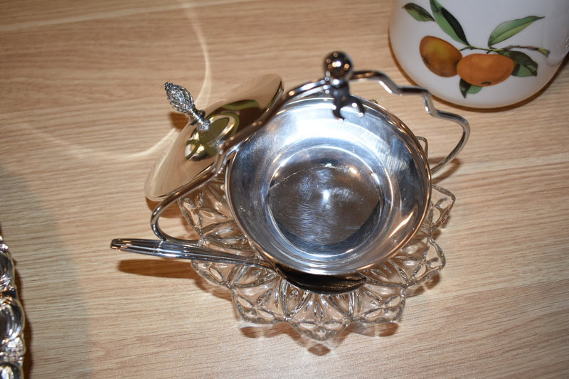 SILVER PLATED CONDIMENT BOWL WITH HOLDER , SPOON AND CRYSTAL GLASS PLATE- NEW