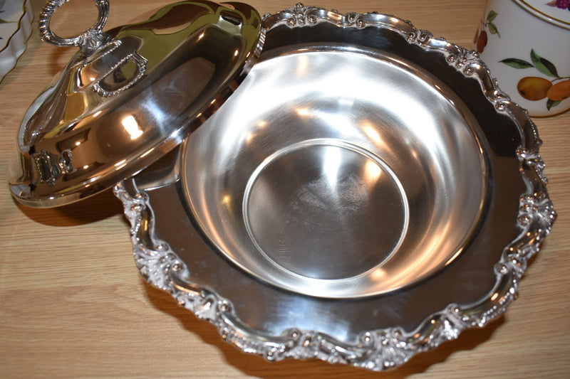 Silver Plated Mid Century Buffet Holder With Glass Casserole And Lid