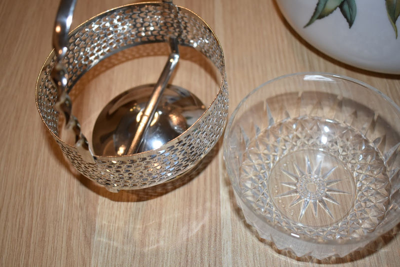 Crystal Glass Mid Century Condiment Bowl With Silver Plated Holder