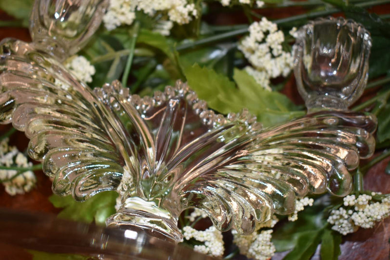 CRYSTAL GLASS - MID CENTURY CANDLE HOLDER - TABLE HOME DECOR