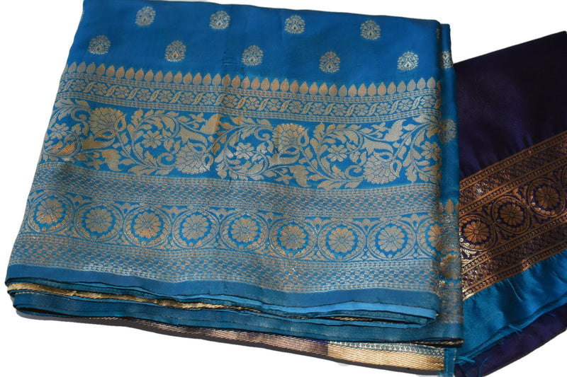 Blue Color - Light Weight Modern Banarasi Silk Saree - Floral Shiny Silk Zari Embroidery