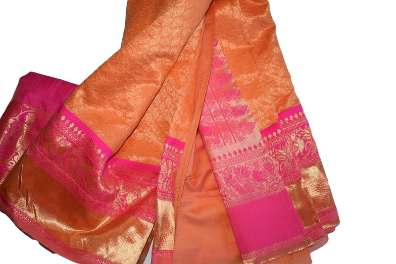 Light Peach Contrast Color - Light Weight Banarasi Silk Saree - Silk Zari Thread Peacock,Elephant Woven Pattern