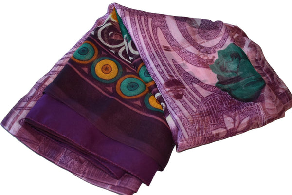Purple Color - Poly Georgette Saree - Printed Pattern - Contrast Border