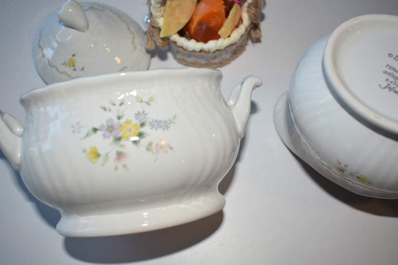 Mikasa - Porcelain Fine China - Floral Pattern Green Trim - Sugar Bowl and Creamer Bowl