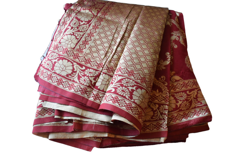 Red Color - Soft Silk Saree with Tassels - Zari Thread Work