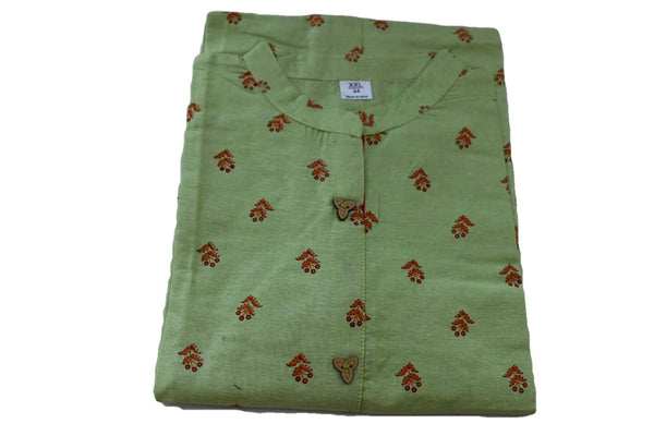 Khadi Cotton Printed Tunic Kurti - Straight Style - Knee Length - Green Color