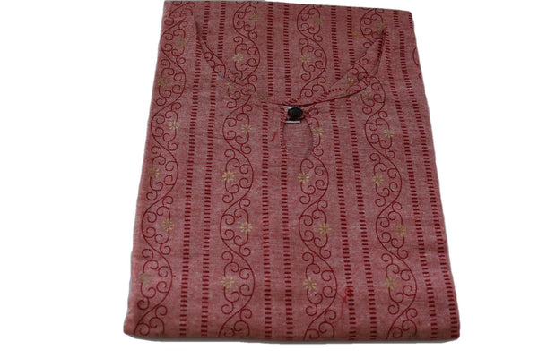 Khadi Cotton Printed Tunic Kurti - Straight Style - Knee Length - Light Red Color