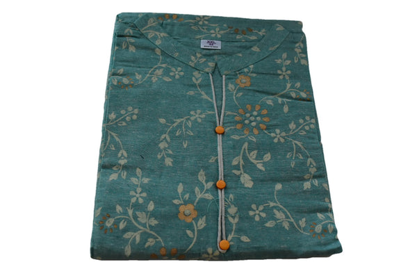 Khadi Cotton Printed Tunic Kurti - Straight Style - Knee Length - Light Green Blue Color