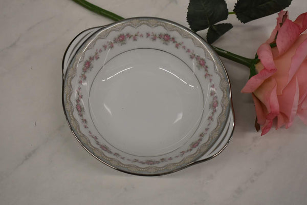 Noritake Glenwood - Fine Porcelain China - Platinum Rim - 5770 pattern - Small Round Vegetable Bowl with Handles