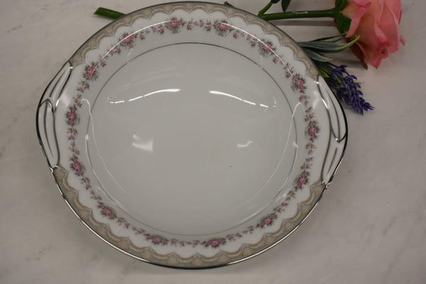 Noritake Glenwood - Fine Porcelain China - Platinum Rim - 5770 pattern - Round Vegetable Bowl with Handles