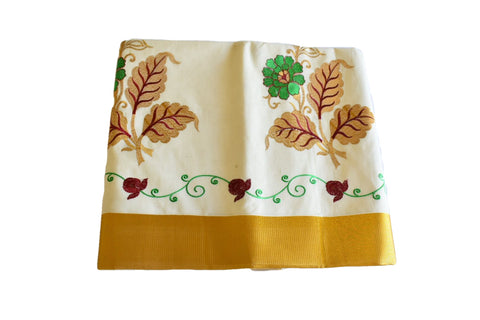 Silk Thread Embroidered Kerala Kasavu Cotton Saree with Gold Silk Zari Border with Flower Embroidery  X