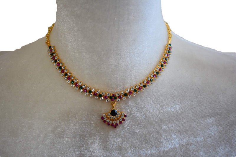 Gold Plated Necklace VI with white and colored jewel stone