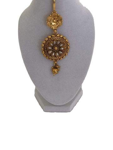 Gold Plated Maang Tikka Jewelry with Pearl Beads