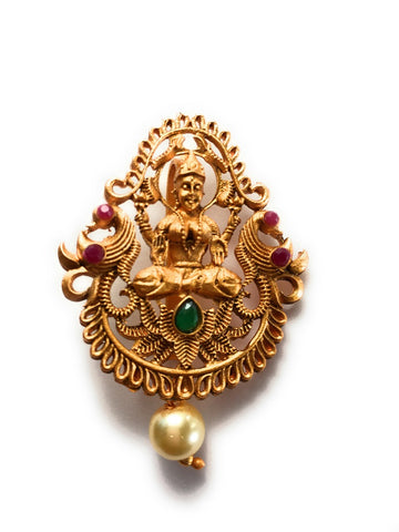 "Gold Plated Goddess Lakshmi Temple Jewelry Hair Clip with Red and Green jewels - Size - 2"" height"