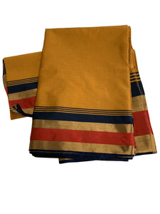 Pure Silk Saree with gold and color border in Golden Yellow color.