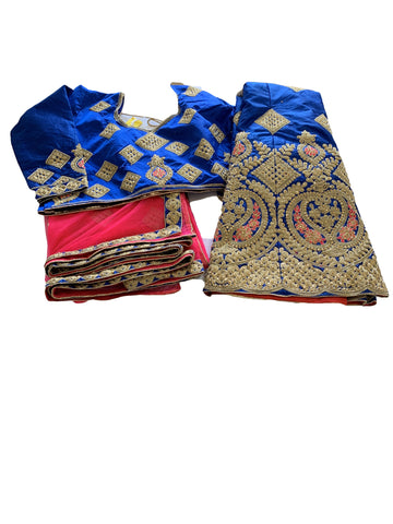 Silk Embroidered Jewel Studded Lehenga Set in Blue 1 color