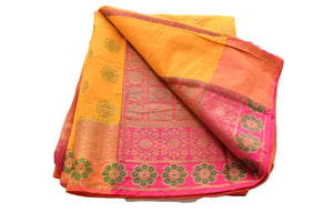 Pure Silk Cotton Saree with Zari Flower Design in Yellow Color