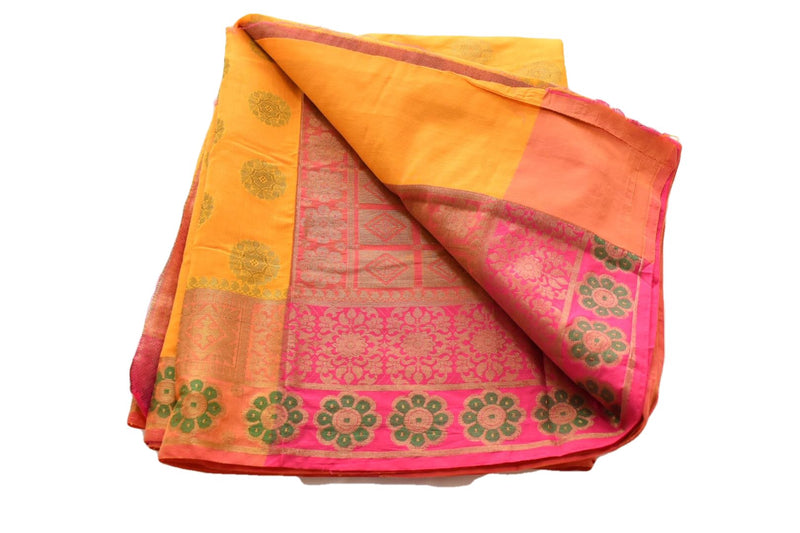 PASTEL COLORED - YELLOW SILK COTTON SAREE - ZARI DESIGN - RICH STYLISH LOOK