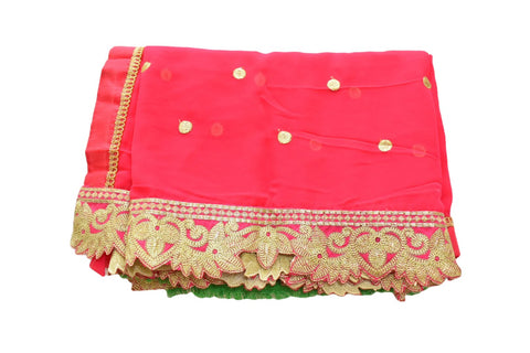 Pure Georgette Saree with Gold Silk Thread Embroidery in Dark Pink Color