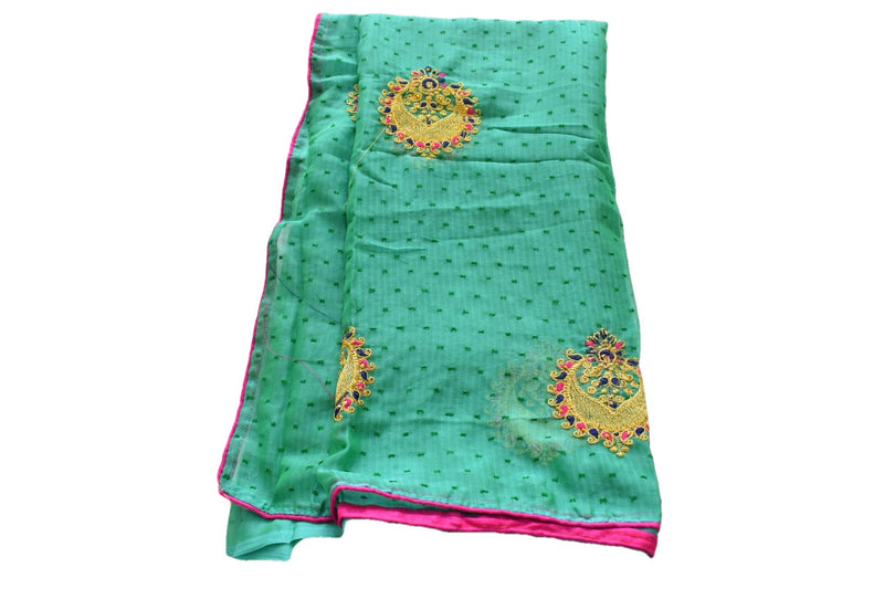 Aqua Green Color - Pure Georgette Saree - Zari Thread Embroidery
