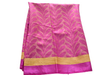 Load image into Gallery viewer, Pure Tussar Silk Saree with Leaf Design in Purple Color