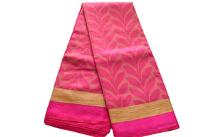 Pure Tussar Silk Saree with Leaf Design in Pink Color