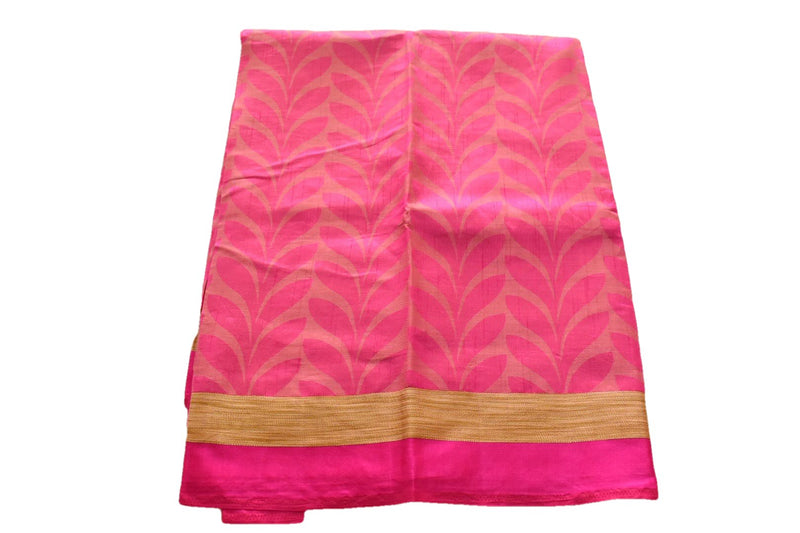 Pure South Silk Saree with Leaf Design in Pink Color