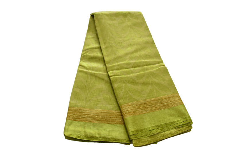 Pear Green Color - Pure Tussar Silk Saree - Petal Pattern