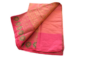 Pure Cotton Silk Saree with Flower design in Zari and Colored thread in Pink Color