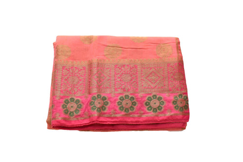 Pure Silk Cotton Saree with Flower design in Zari and Colored thread in Pink Color