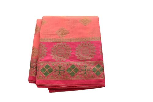Pure Silk Cotton Saree with Diamond Shape Zari and Colored thread Designs in Pink Color