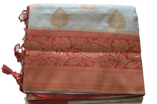 Load image into Gallery viewer, Pure Silk Saree with Zari design in Gray Color with red color pallu and border