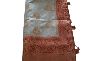 Pure Silk Saree with Zari design in Gray Color with red color pallu and border