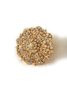 "Gold Plated Fashion Jewelry Hair Clip (1""Height) with White Jewel stones I"