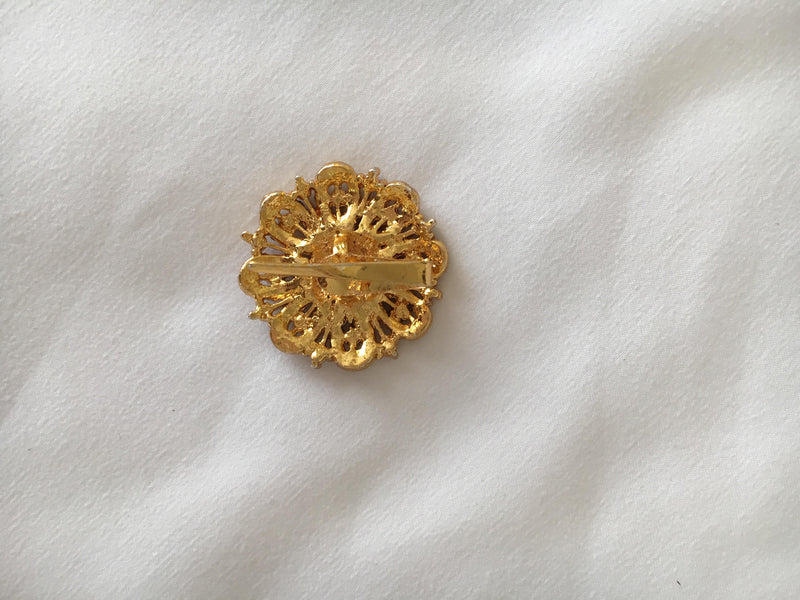 Gold Plated Temple Jewelry Hair Clip with White Jewel stones I
