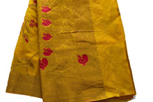 Load image into Gallery viewer, Pure Silk Saree with Satin feel with Delicate Zari and Peacock Design in Yellow Color