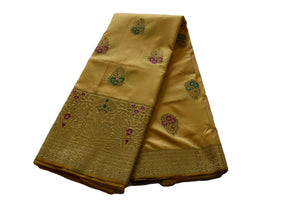 Pure Silk Saree with Delicate Flower Zari Design in Light Yellow Color