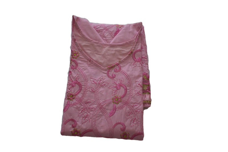Embroidered Cotton Salwar Kameez in Pink Color