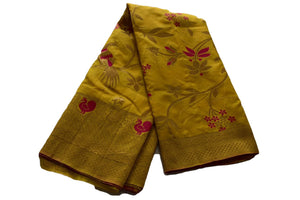 Pure Silk Saree with Satin feel with Delicate Zari and Peacock Design in Yellow Color