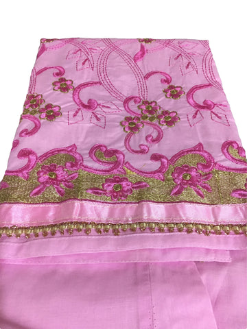 Embroidered Stitched Cotton Salwar Kameez in Pink Color