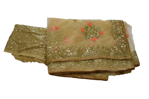 Chiffon Net Embroidered Saree with Gold Sequin Border in Light Brown Color