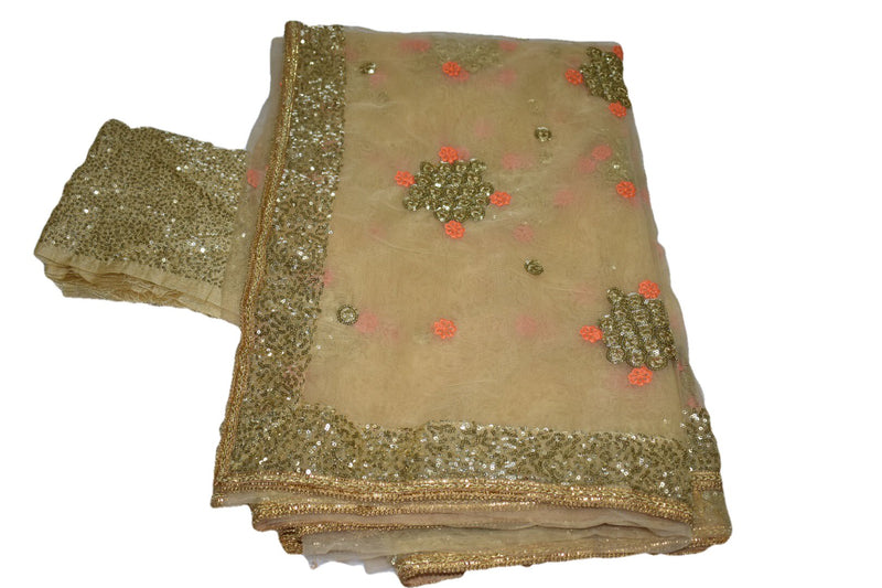 Chiffon Net Embroidered Saree with Gold Sequin Border in Light Beige Brown Color