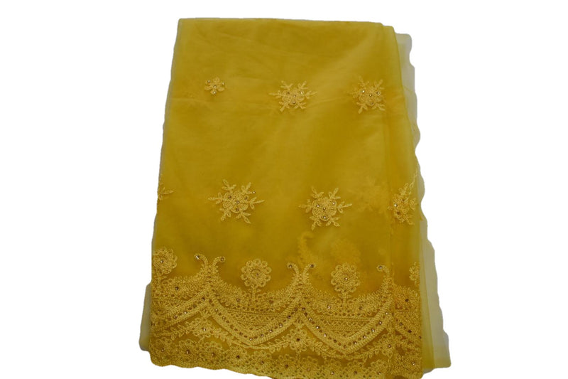 Chiffon Net Embroidered Saree/Lehenga Dupatta with thread embroidery in Yellow Color