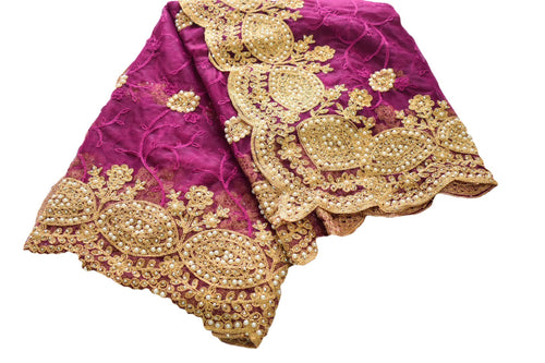 Chiffon Net Embroidered Saree with White Pearl Beads in Magenta Purple Color