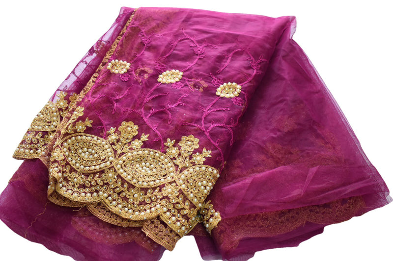Plum Purple Color - Pure Chiffon Net Saree- Resham Thread Embroidery - Faux Pearl And Stone Work