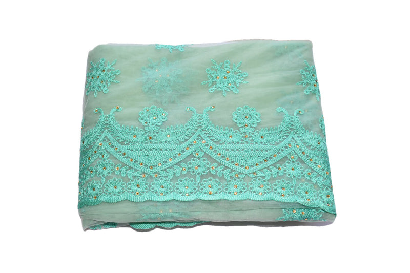 LIGHT AQUA BLUE COLOR - CHIFFON NET LEHENGA SAREE - WOOL THREAD EMBROIDERY