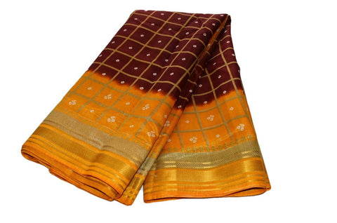 Tussar Silk Saree with gold silk zari lines in Maroon Brown Color