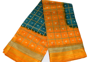 Tussar Silk Saree with gold silk zari lines in Blue Yellow Color