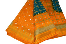 Load image into Gallery viewer, Tussar Silk Saree with gold silk zari lines in Blue Yellow Color